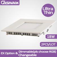 Free shipping (2 pcs/lot)  85-265vac ultrathin 18w led downlight square 2835 SMD cutout 215mm