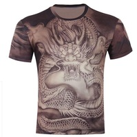 Men's 3D original animal Dragon printed three-dimensional creative T shirt Summer Sport T Shirts Tops,B06.S-6XL