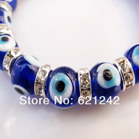 2013HOTTEST SALE Fashion Chamilia beads Strand Bracelet Glass dark blue Evil eyes Charm Jewelry Bracelets&Bangle Wholesale EB314