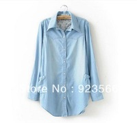 A00A Wholesale 0515D TOP Quality Europe Style Sleeve collapsible single breasted plus size denim shirts women