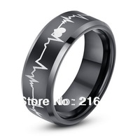 New Arrival 8mm Black Tungsten Carbide Ring With Laser Engraved Forever Love Mens Wedding Rings Size 8-12 Free Shipping