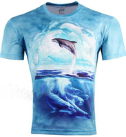 Gothic Punk Cute Dolphin Blue Printed Men's Creative 3D T Shirt,Three D Short Sleeve Slim Tee Shirt S-6XL,B21,Plus Size