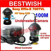 100M cable SONY Effio 700 TVL CCTV Camera PTZ Underwater Camera 12PCS IR/White LEDs Nightvision Waterproof Rotate 360 Degree