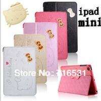 New arrive cut cartoon hello kitty bracket Leather cover +Hard back case for Ipad mini 1/2