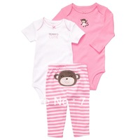 1Set Retail new carter's 3 piece baby short sleeve & long sleeve body suit + pants set.,carters baby clothing.