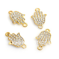 Free Shipping 16*21mm Gold Plated Rhinestone Hand Alloy Beads Charms High Quality For DIY Jewelry Findings 50pcs/lot Wholesale