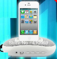 High Quality Mini Stereo Docking Charger Speaker For iphone /ipod/PC, support USB/MP3/SD/Radio with memory play Free ship