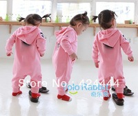 Baby  Romper baby One-Piece romper with hat Hooded long sleeve boy&girl polo kids sets summer jumpsuit 2 colors