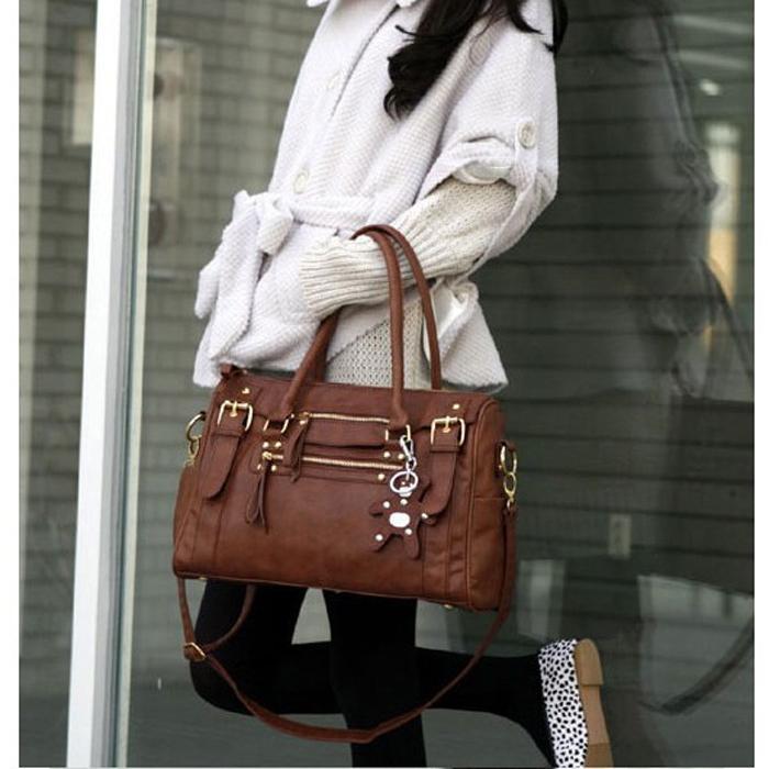 2015 New Casual Korean Style Zipper Versatile Silt Pocket Faux Leather ShoulderBag Handbag Shoulder Bags for Women Black Brown(China (Mainland))