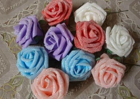 EMS Free Shipping!! Hot Sale!! (360pcs/lot ) 5cm Pretty Single Glitter foam rose stems DIY Flowers For Wedding(China (Mainland))