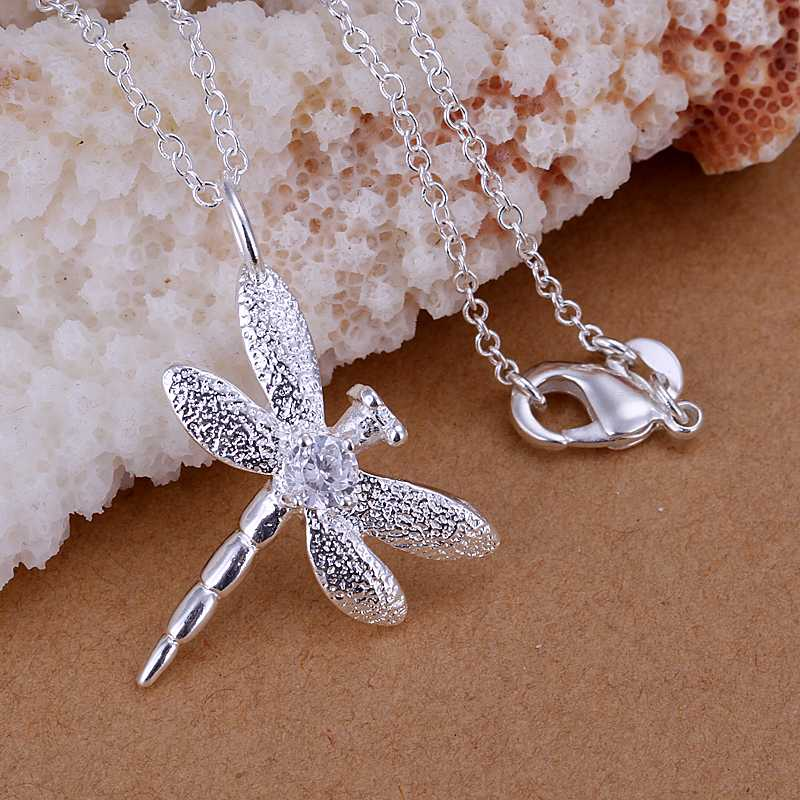 Free Shipping 925 Sterling Silver Jewelry Pendant Fine Fashion Cute Silver Plated Zircon Dragonfly Pendants Top Quality CP011(China (Mainland))