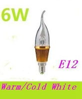 5x wholesale free shpping  6W E12 LED candle bulb light 540LM glass cover LED lighting