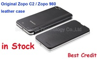 Freeshipping Newest arrival original leather case for Zopo C2 ZP980 ,  ZP C2 Zp980 leather case black in stock