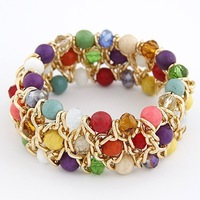 Free shipping  Min.Order $10 2013 new arrival fashion woman handmade stretch stone crystal mix braided gold bracelet