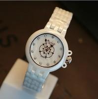 2014 new women dress watches Real Ceramic Rose Big Dial Women Watch Quartz Ceramic Strap White Wristwatch Freeshipping