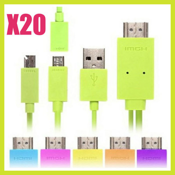 For Drop Ship 20pcs/ lot Wholesale 1.8M MHL Micro USB to HDMI HDTV Adapter Cable for Samsung HTC LG N10 1080P HD 5Pin 11Pin
