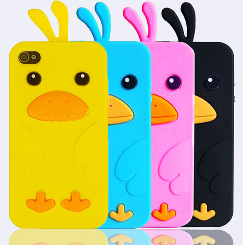 new 10 pcs 3D Cute Duck Soft Silicone Rubber Case Cover Skin For iPhone 5 5G black blue pink yellow free shipping(China (Mainland))