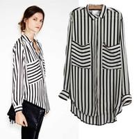 2014 summer brand Casual elastic Slim shirt for women's female blouse fashion classic all-match K0S415