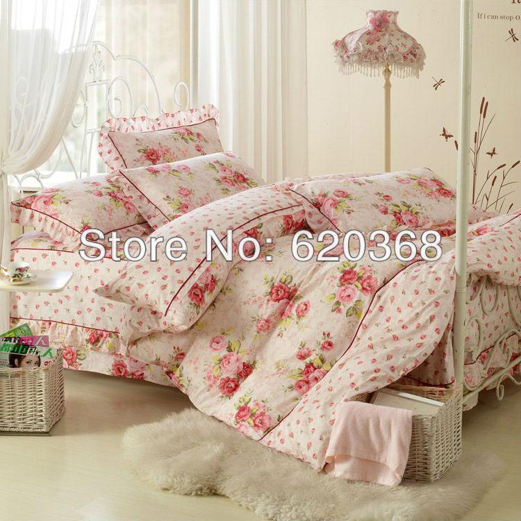 De alta classe Coréia do Sul 4pcs estilo rural cama cama definir 100% algodão Luxo lençóis de impressão, colcha, lençóis têxteis-lar(China (Mainland))