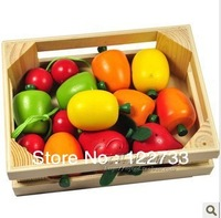 Free shipping!The French janod vegetables and fruit combination, simulation wooden toys children play house
