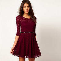2013 NEW excellent quality, Korea style half sleeve lace dress with belt,free shipping