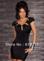 2013 Free Shipping!!! Black Sexy Mini Dress 100% Quality Women Sexy Costumes, Sexy Casual Dress ~  & Slim Dress # N076