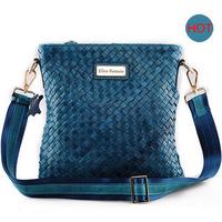 Hot Sale Knitted Vintage Cowhide Leather Women Bucket Shoulder Bag Luxury Genuine Leather Women Messenger Bag Ladies Casual Bags