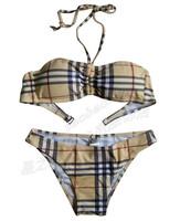 Women's tube top design plaid swimwear girls sexy halter-neck bikini triangle summer swimwear