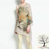 Free Shipping Wholesale 2013 Good Quality Fashion Tiger Animal Print Sleeveless Woman Chiffon Blouse Clothes