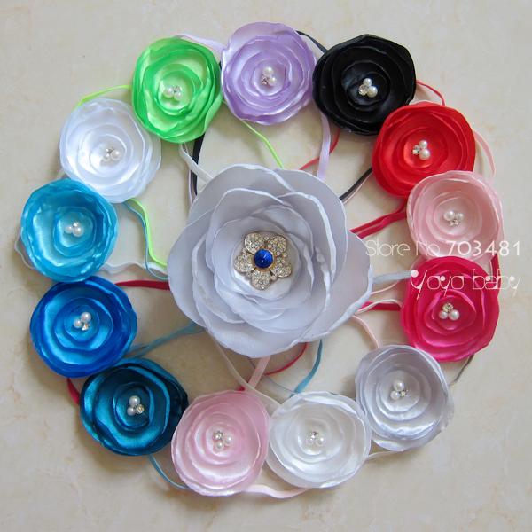 "free shipping Baby Headbands 2.2"" Layered Satin Flower Fabric Flowers with thin headbands for girls headwear 30pcs/lot"