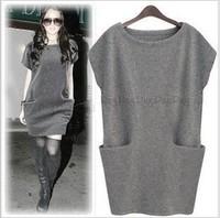 2014 Fall Autumn Winter Brand HOT New fashion plus size women black/dark gray cashmere short sleeve pocket dress