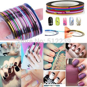 Free shipping Metallic Yarn Color Striping Tape Line Nail Art Decoration 90pcs/lot #MY090