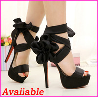 Free Shipping 2013 New Fashion Women's Sexy Ankle-Wrap Flower Platform 14cm Stiletto High Heels Sandals Ladies Party Shoes