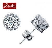 GS brand EH-27 Free shipping  New arrivals imperial crown 925 stamp silver & platinum & AAA swiss crystal earrings jewelry