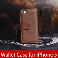 Genuine Leather Case for iphone 5 5g Wallet with Stand Flip cover Card Holder holster  Free Screen Protector !! free epacket