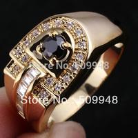 Men's D-shape Clear White Topaz CZ Black Onyx Blue Sapphire  Genuine Sterling Silver Ring 925 MAN GFS R114 Sz10 to 13