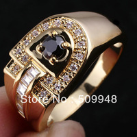 Men's D-shape Clear White Topaz CZ Black Onyx Blue Sapphire  Genuine Sterling Silver Ring 925 MAN GFS R114 Sz10 to 13