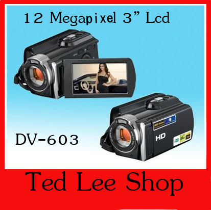 cheap gift digital video camera camcorder, 1.3Mega pixels CMOS sensor 1080P digital video camcorder DV-603(China (Mainland))