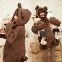 omen' s Autumn warm Sweatshirt  bear Rabbit ear Coat  Fashion Plush Hooded Casual Clothing Girl's Outerwear  Topcoat Plus Size