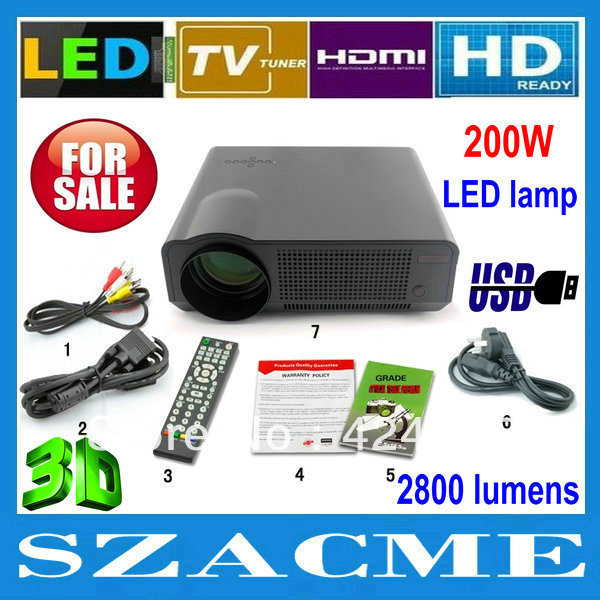 Full HD 200W LED lamp 2800lumens Proyector Native1280*800 Video Home Theater Portable LED Projectors with HDMI USB TV(China (Mainland))