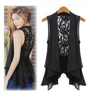 Free shipping 2014 new chiffon shirt plus size lace blouse shirt medium-long top fashion design casual vest  T254