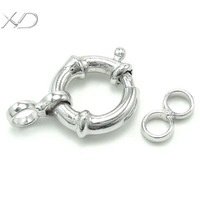 XD 925 sterling silver DIY jewelry finding 2015 latest design necklace bracelet connector spring ring clasp with hoop  P378/P379