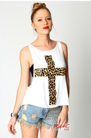 2013 Fashion crosses tops causal summer sexy leopard cross tank top boob tube top two-piece set Free shipping L154
