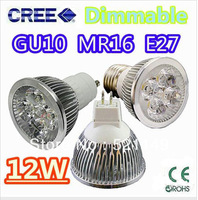 MR16 12W Dimmable LED Spot light Bulbs Lamp Downlights warm white 4x3W 12V 85V-265V Free Shipping 10pcs