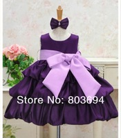 Retail!!!2013 new baby dress GIRLdress with bow  princess party dress free shipping H-5