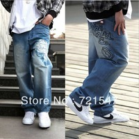 Free shipping 2012 New Men's Printed Hip Hop Jeans Fashion Loose Demin Jeans Pants Plus Size Street Dance Trousers 7 size