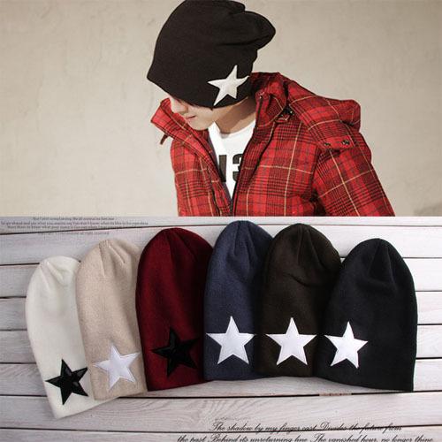 2013 new kintted Crochet Star Beanie super Men's Hat Skull female cap for women winter 6 colors Free Shipping,MZ04(China (Mainland))