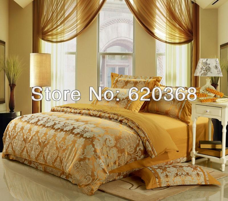 Conjunto lençol colcha jacquard de luxo emb algodão fio 4pcs jogo de cama de seda tingida / edredon / lençol, colcha de têxteis para o lar(China (Mainland))