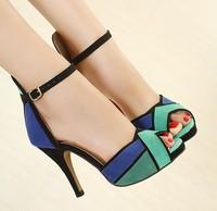 2014 Summer Shoes Fashion Vintage Women Ankle Strap Sandals Sexy High Heels Shoes Woman Peep Toe Stilettos Bridal Wedding Shoes