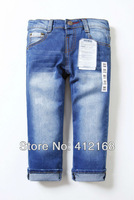 f8805# wholesale brand 2013 new wash  children's boys acid wash girls denim pants jeans kids baby blueFreeshipping 6 pieces/lot